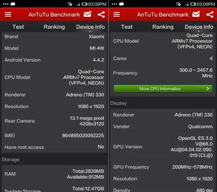 Xiaomi MI4 - Antutu Benchmark