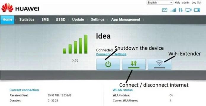 Huawei WebUI Home - explained