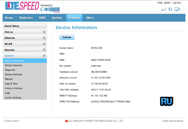 Free Unlocking of Liquid Telecom Zambia Huawei B310 [Firmware 21 321