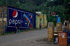 "hand painted ad of Pepsi - from Ethiopia there was ""Cola-Cola Pepsi War"" Ads everywhere of those two soft drinks"