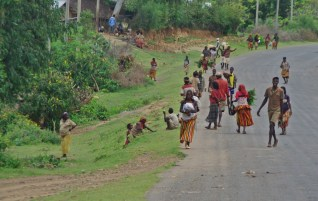 tribes walking on the road