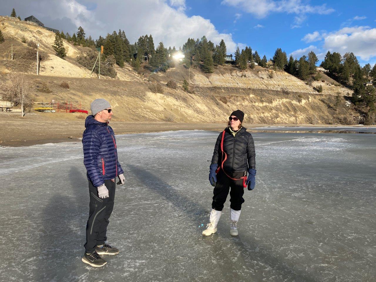People on the ice on Lake Windermere
