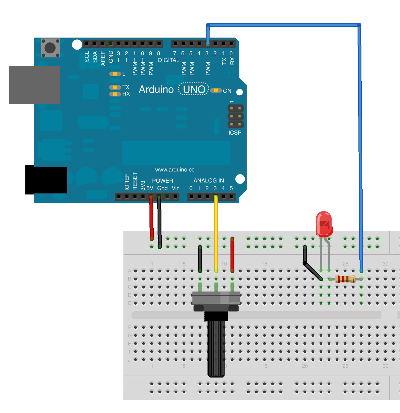 Potentiometer Connections Likewise Arduino Potentiometer Wiring