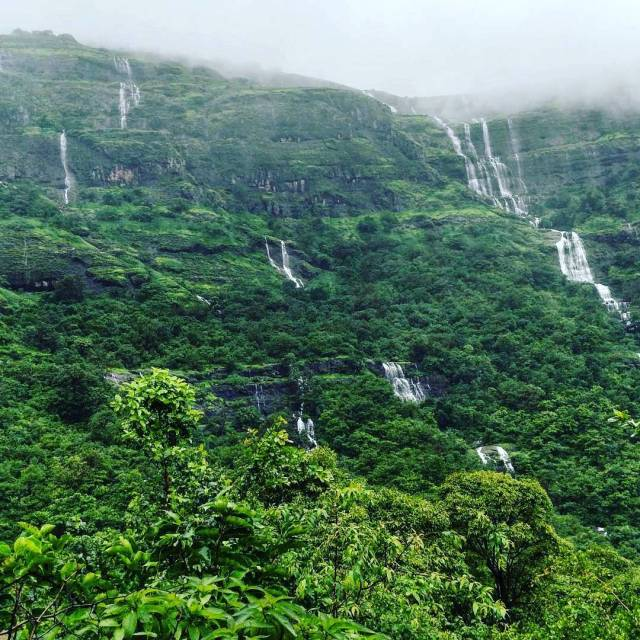 The series of waterfalla at kalsubai peak Maharashtra Photo byhellip