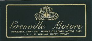Grenville Motors Rover Window Sticker
