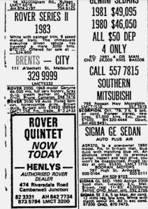Rover Ads Brents etc The Age 22-6-1983 Part 2