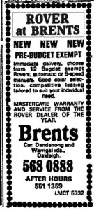 Rover Brents Ad The Age 4-2-1981