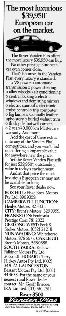 Rover Vanden Plas Ad The Age 11-4-1986