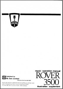 DSC_0004a Rover 3500 Repair Operation Manual Australian Supplement P1