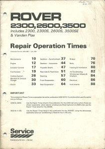 DSC_0109 Rover 2300 2600 3500 Vanden Plas Repair Operation Times Manual BL Cars AKM 4981 July 1981