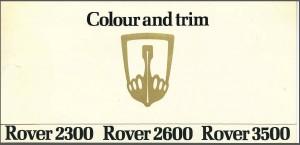 Rover 2300 2600 3500 Colour Card Cover 1977
