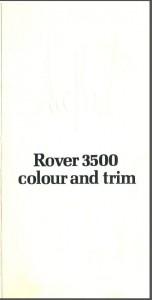 Rover 3500 Colour & Trim Brochure Cover 1976