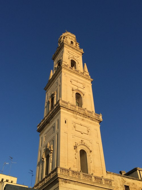 The bell tower of the Lecce Cathedral at dusk