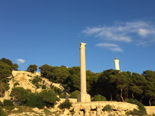 Santa Maria di Leuca and the Roman column with the lighthouse in the background