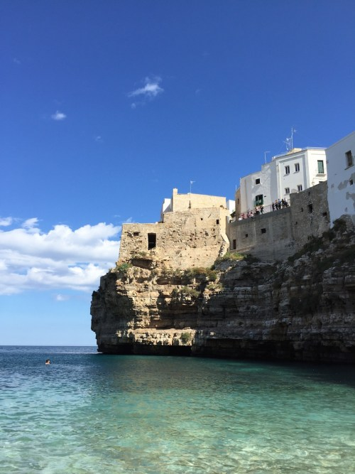 Lama Monachile and Bastione di Santo Stefano (terrace) overlooking the limestone cliffs and ocean below