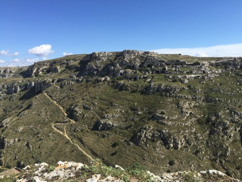 the countryside surrounding Matera's sassi district including caves