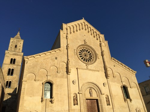 The facade and entrance of the Matera Cathedral