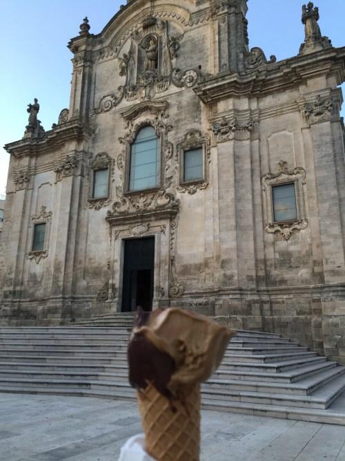 Matera Church and a gelato