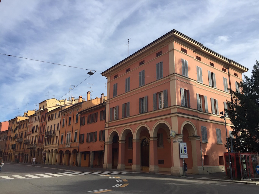 Multi-colour buildings in Bologna and the porticos