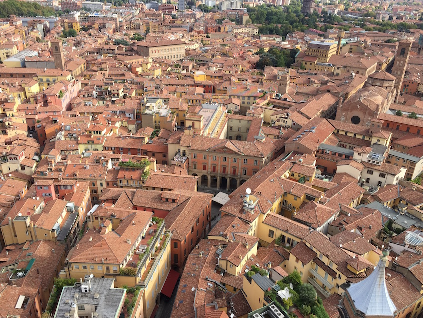Looking down from the tower to Bologna's maze of streets