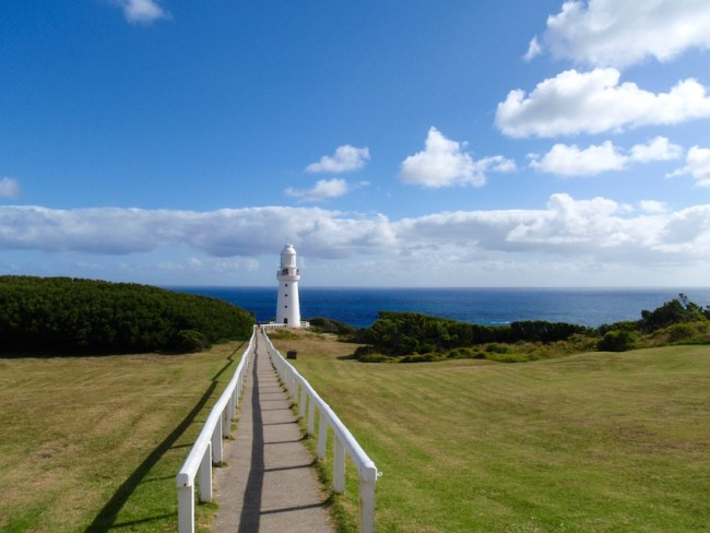 Cape Otway Lighthouse on a sunny day, one of the sights along the Great Ocean Road