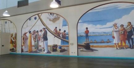 The beautiful murals in the Passenger Terminal at Pier 11 Honolulu
