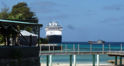 view from the Outrigger Bar of MS Amsterdam docked in Majuro