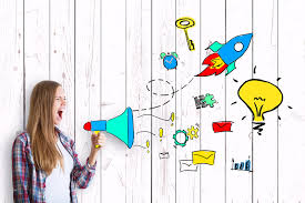 a photograph of a woman with long hair shouting in a cartoon megaphone, a cartoon rocket and a lightbulb are coming out of the megaphone