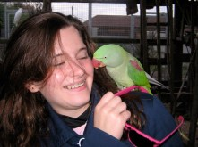 Hannah with parrot