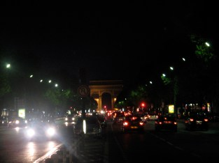 Arc du Triumphe at night (about 2 blocks from our hotel)