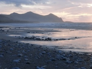 Yr Eifl hills from the beach near Clynnog Fawr