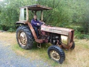 Lady on a tractor