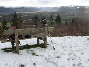 Seat with a great view of Rowen and the Conwy Valley