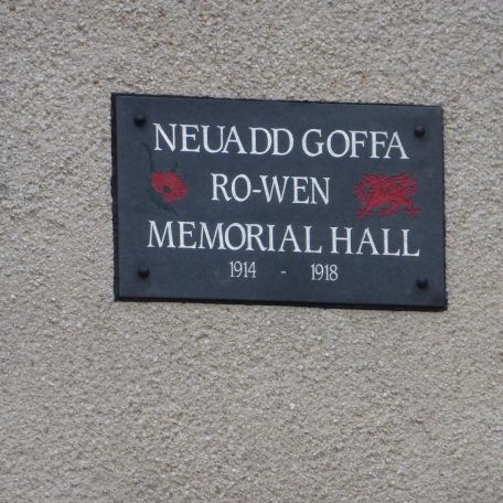 Memorial on the Hall's gable end