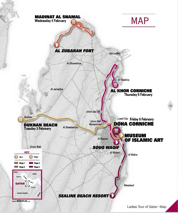 ladies tour of qatar2015-mapa