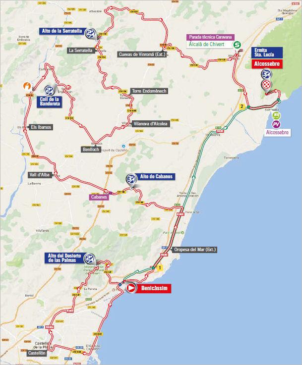 mapka 5. etapu Vuelta a Espana 2017