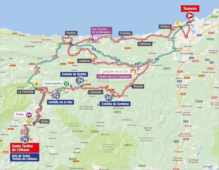mapka 18. etapu Vuelta a Espana 2017
