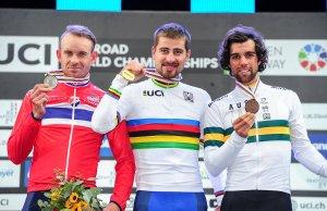 Kristoff - Sagan - Matthews na podium MŚ.