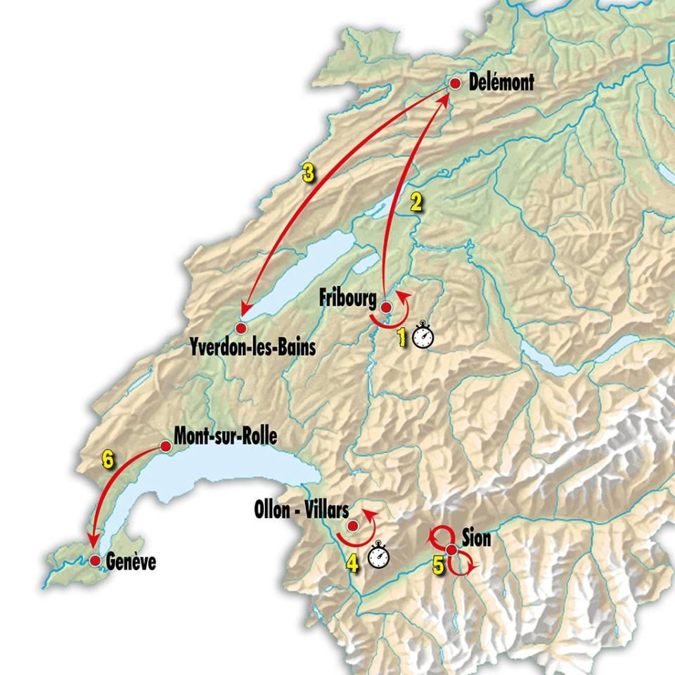 mapka Tour de Romandie 2018