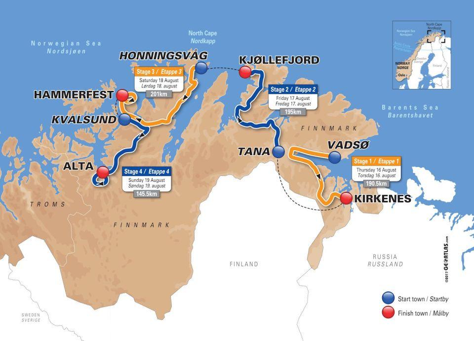 Mapa Arctic Race of Norway 2018