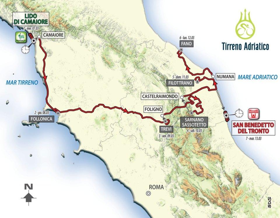 mapka Tirreno-Adriatico 2018