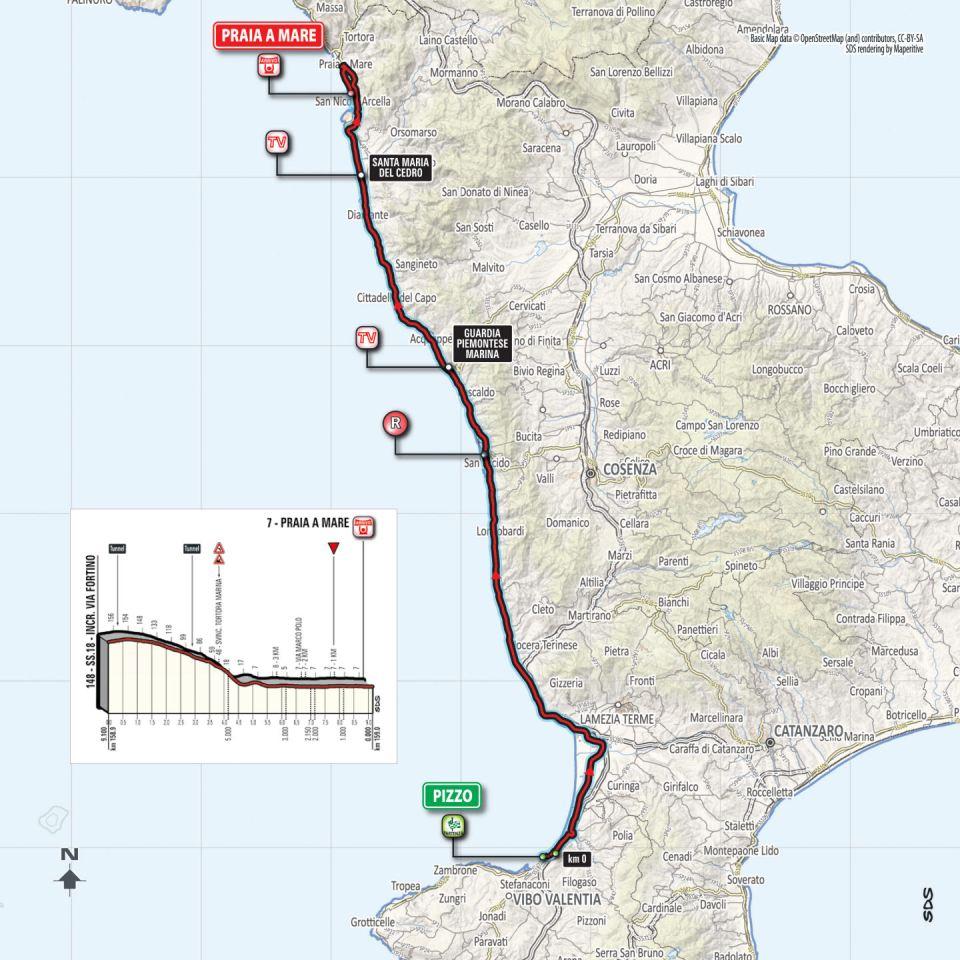mapka 7. etapu Giro d'Italia 2018