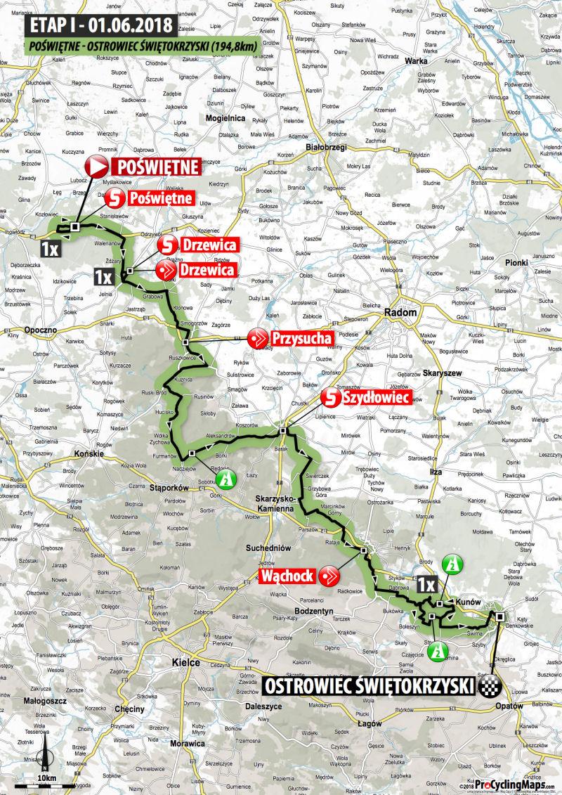 trasa 1. etapu Wyścigu Szlakiem Walk Majora Hubala 2018