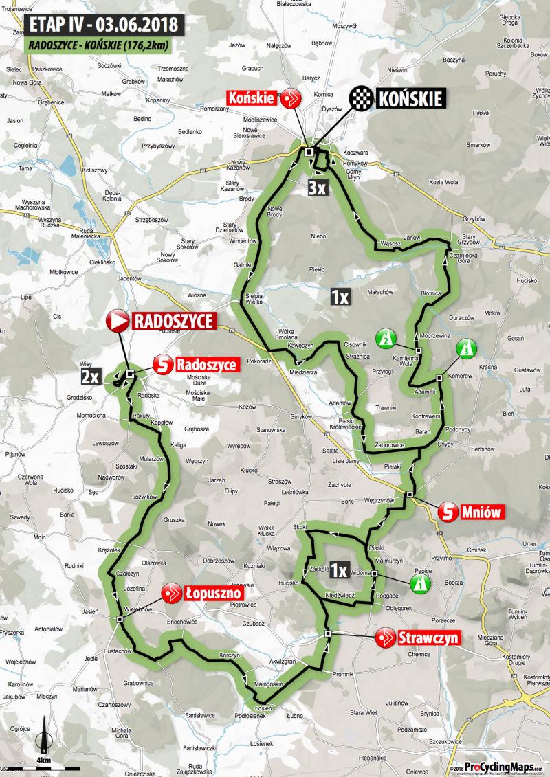trasa 4. etapu Wyścigu Szlakiem Walk Majora Hubala 2018