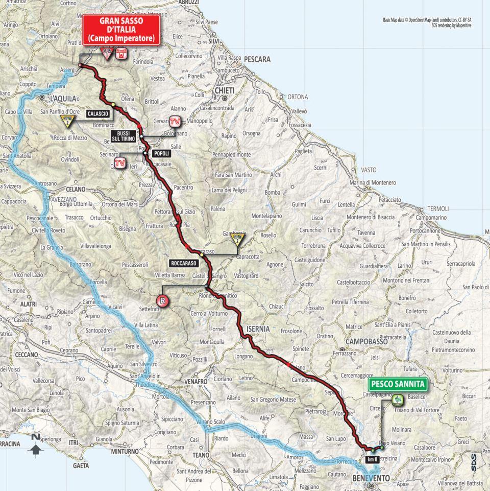 mapa 9. etapu Giro d'Italia 2018