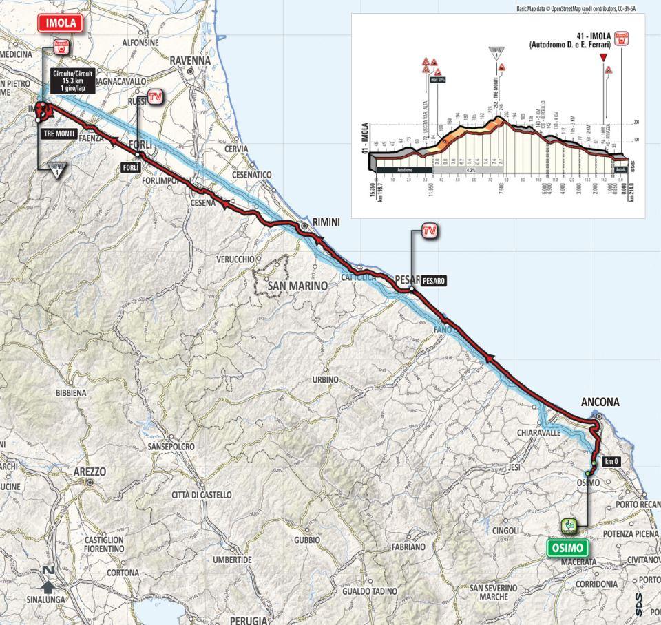 mapa 12. etapu Giro d'Italia 2018