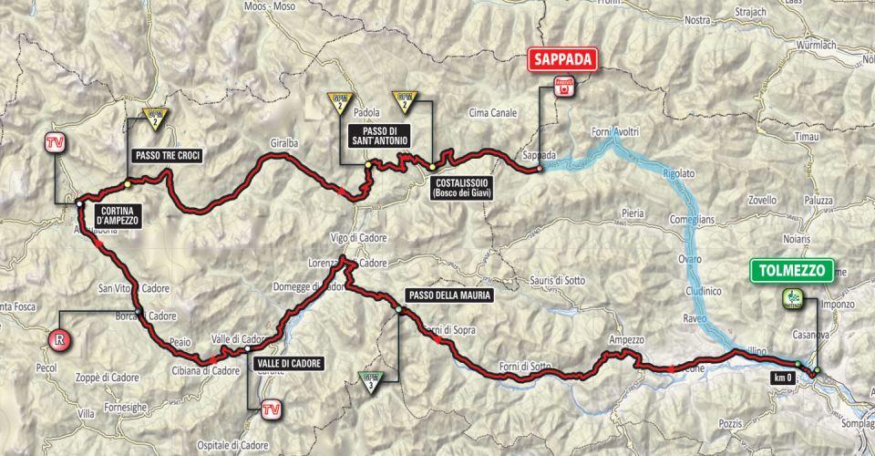 mapka 15. etapu Giro d'Italia 2018