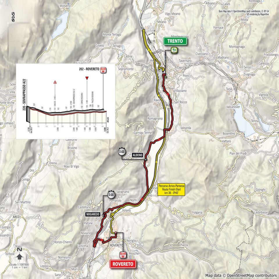 mapka 16. etapu Giro d'Italia 2018