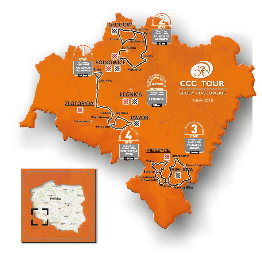 mapa CCC Tour Grody Piastowskie 2018