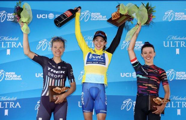 Podium wyścigu: od lewej Tayler Wiles - Lauren Hall - Katarzyna Niewiadoma